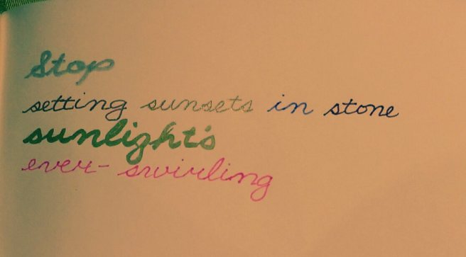 Stop setting sunsets in stone; sunlight's ever-swirling